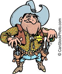oud, vrijstaand, cowboy