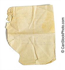 oud, vrijstaand, papier, jammed, blad, witte , wiskunde
