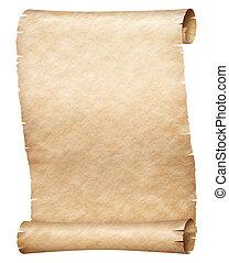 oud, vrijstaand, papyrus, of, witte , perkament, boekrol