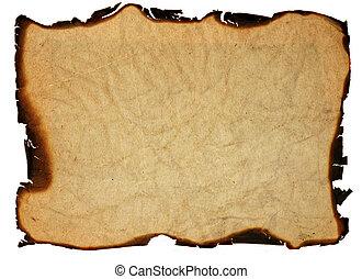 oud, -, vrijstaand, randen, papier, grunge, gebrande