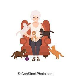 oud, vrolijke , dame, of, grootmoeder, zittende , in, comfy, leunstoel, omringde, door, cats., verticaal, van, oma, op, home., het glimlachen, vrouwlijk, plat, spotprent, karakter, vrijstaand, op wit, achtergrond., vector, illustration.