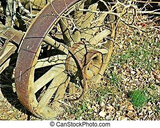 oud, wagon wiel