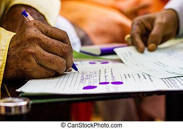 oud, wettelijk, hand, belangrijk, schrijvende , document, man
