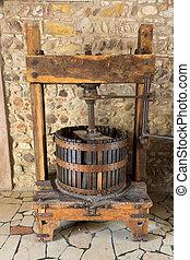 oud, wijntje, press., traditionele , oud, techniek, van,...