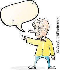 oud, wijzende, tekstballonetje, spotprent, man
