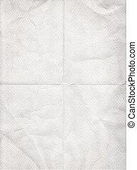 oud, witte , papier, ineengevouwen , in, vier