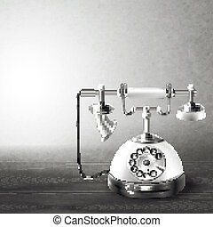 oud, witte , zwarte telefoon