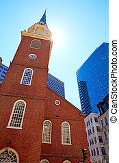oud, woning, bouwterrein, historisch, boston, vergadering,...
