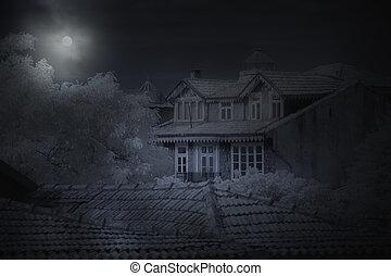oud, woning, in, een, volle maan, nacht
