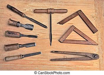 oud, woodworking, gereedschap