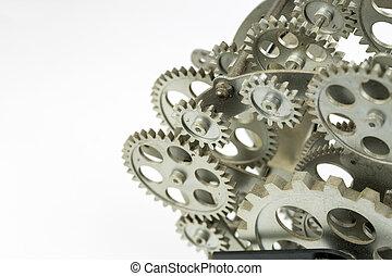 oud, zakelijk, ruimte, succesvolle , foto, klokken samenstel van bewegende delen, cogs., aanzicht, toestellen, included., conceptueel, afsluiten, kopie, jouw, design.