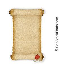 oud, zeehondje, achtergrond., papier, was, witte , boekrol