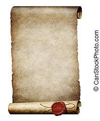 oud, zeehondje, koninklijk, was, parhment, boekrol