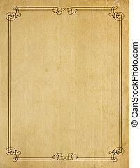 oud, zeer, papier, achtergrond, leeg, grens, boekrol