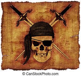 oud, zeerover, schedel, perkament