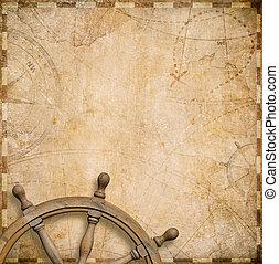 oud, zeevaartkaart, met, leidingswiel