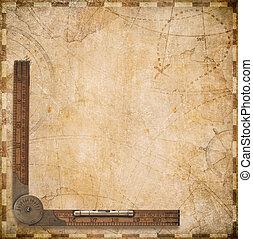 oud, zeevaartkaart, met, ouderwetse , meetlatje