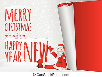 oud, zitting boven, kerstman, jaar, wikkeling, kerstmis kaart