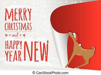 oud, zoet, hertje, op, baby, jaar, wikkeling, kerstmis kaart