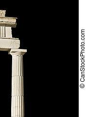 oud, zuil, griekse , zwarte achtergrond, (part, temple)