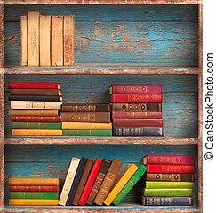 oude boeken, op, de, achtergrond, van, een, houten