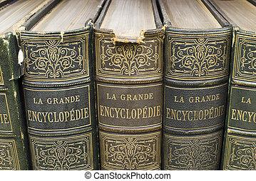 oude boeken, op, plank