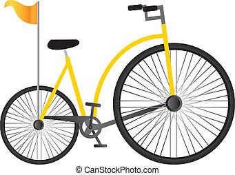 oude fiets, gele