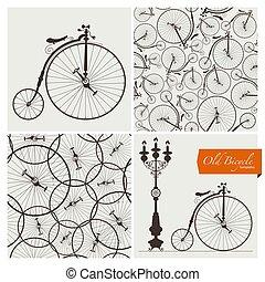 oude fiets, voorbeelden, en, seamless, motieven