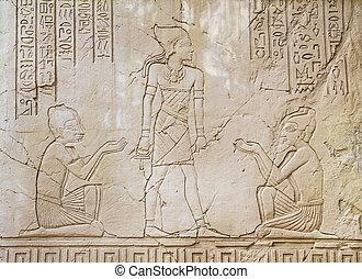 oude kunst, egyptisch, gezinkenen steun beeldhouwwerk