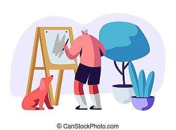 oude mensen, beneath., oud, hobby., beroep, doek, verven, ...