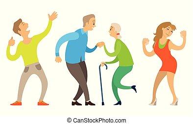 oude mensen, dancing, jong paar, vector, senior