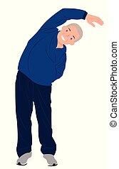oude mensen, stretching, karakter, het uitoefenen, een, ontwerp, senior, bovenkant, spotprent, man
