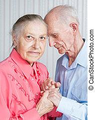 oude mensen, vasthouden, hands., closeup.