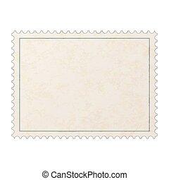 oude postzegel, vrijstaand, textuur, realistisch, papier, leeg, post, witte