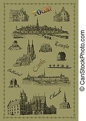 oude stad, illustratie