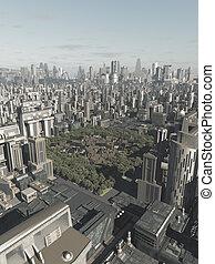 oude stad, verborgen, in, de toekomst, stad