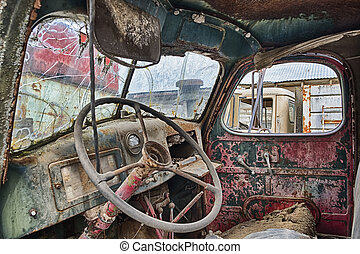 Interieur, vrachtwagen. Moderne, vrachtwagen, cabine.