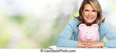 oude vrouw, bank., piggy