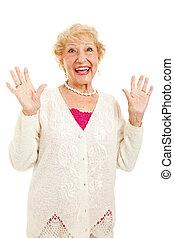 oude vrouw, blij