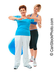 oude vrouw, doen, fitness oefening