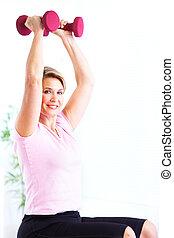 oude vrouw, doen, fitness.