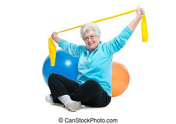 oude vrouw, doen, oefeningen