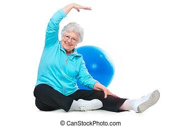 oude vrouw, doen, stretching, oefeningen