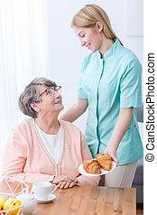 oude vrouw, en, caregiver