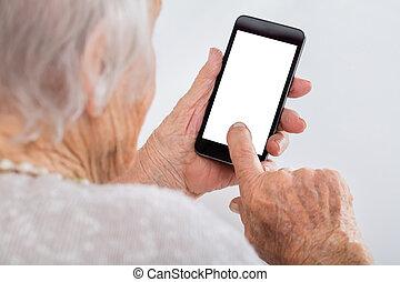 oude vrouw, gebruik, smartphone