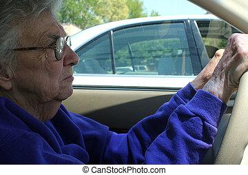 oude vrouw, geleider