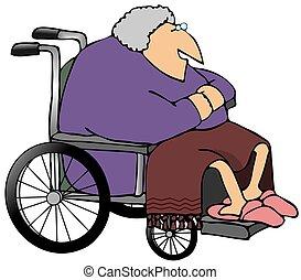oude vrouw, in, een, wheelchair