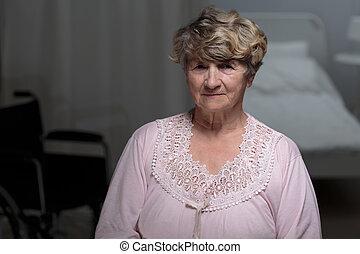 oude vrouw, in, verpleeghuis