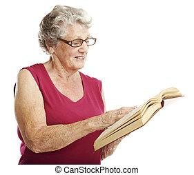 oude vrouw, lezende