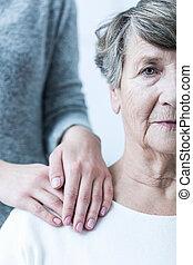 oude vrouw, met, caregiver